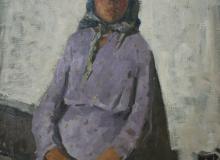 Этюд девочки в сиреневом платье. хм, 88х67, 1955
