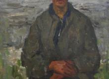 Портрет юноши. Колхозный кузнец., хм, 95х70, 1950-е